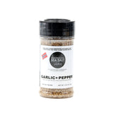 GARLIC + PEPPER made with Garlic Infused Norwegian Flake Sea Salt and Fresh Cracked Peppercorns