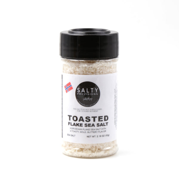 TOASTED NORWEGIAN FLAKE SEA SALT - 100% Pure - Finishing Salt from Norway Toasted for a Bold Buttery Flavor