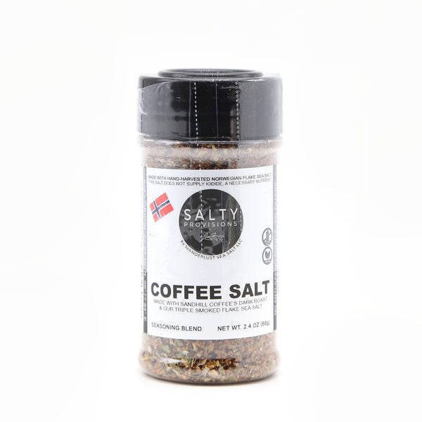 COFFEE SALT, made with Sandhill Dark Roast Coffee and our Triple Smoke Norwegian Sea Salt