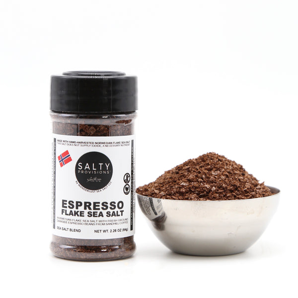 ESPRESSO FLAKE SEA SALT, made with Sandhill Coffee's Espresso Beans + Norwegian Flake Sea Salt