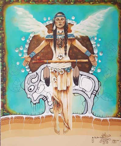 White buffalo Calf Woman - Limited Edition on Canvas