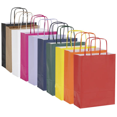 Pack of 10 Twisted Handle Kraft Paper Bags 18x8x24cm - 15 Colour/Print Options