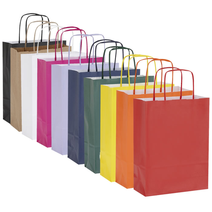 Pack of 10 Twisted Handle Kraft Paper Bags 26x11x34.5cm - 16 Colour/Print Options - BORDERS HOMEWARES by Mainetti UK