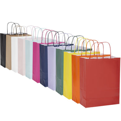 Pack of 10 Twisted Handle Kraft Paper Bags 22x10x29cm - 21  Colour/Print Options - BORDERS HOMEWARES by Mainetti UK