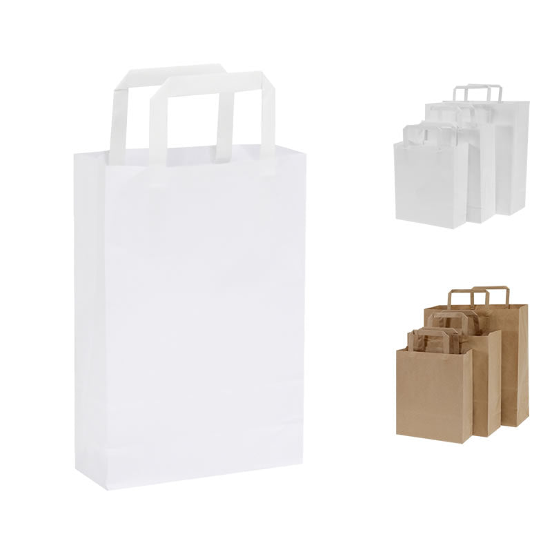 Pack of 25 Flat Handle Kraft Paper Bags - BORDERS HOMEWARES by Mainetti UK