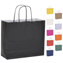 Pack of 10 Twisted Handle Kraft Paper Bags 26x11x24cm - 10 Colour Options