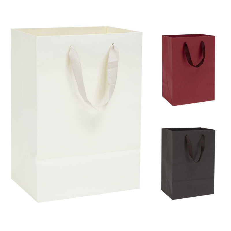 Pack of 10 Handmade Kraft Paper Bags with Cotton Ribbon Handles - BORDERS HOMEWARES by Mainetti UK
