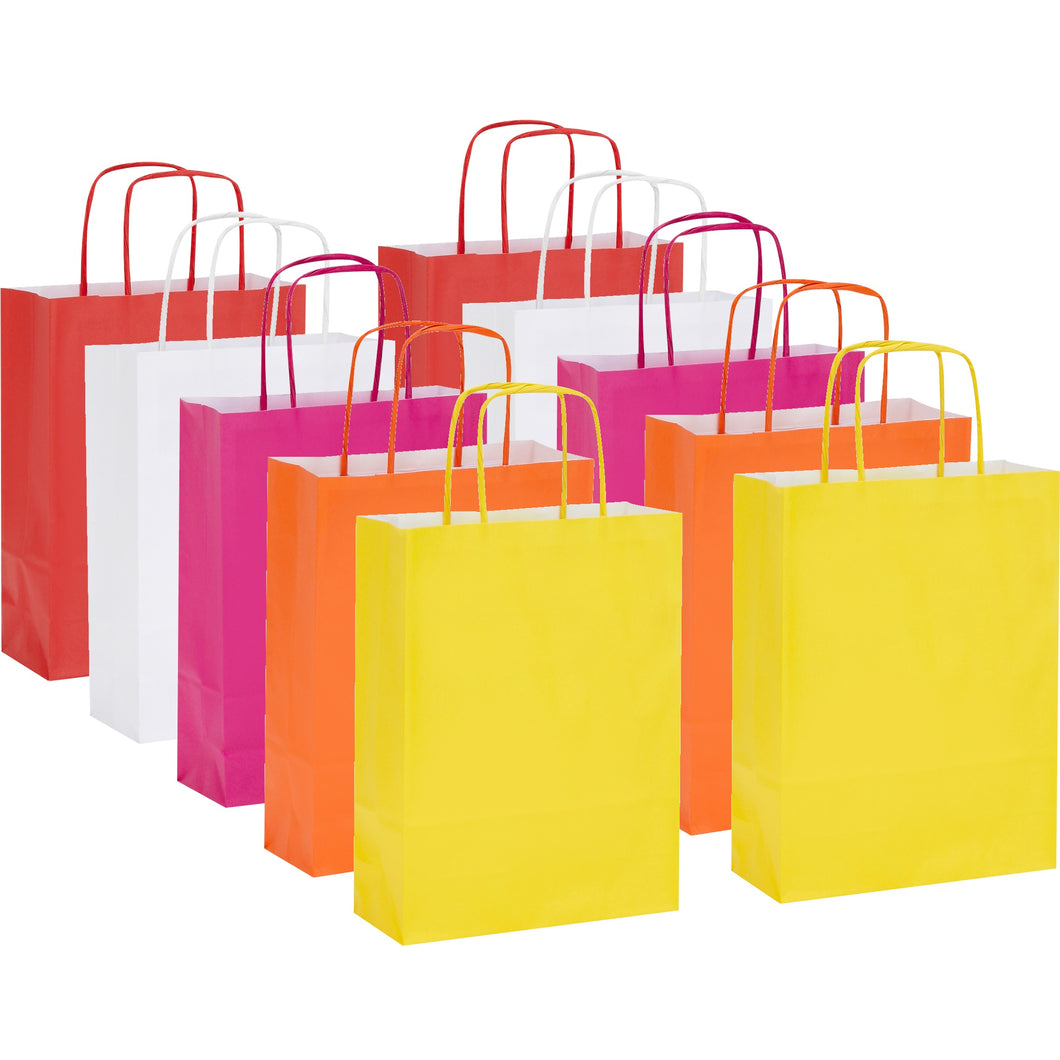 Pack of 10 Twisted Handle Kraft Paper Bags 18x8x24cm - 15 Colour/Print Options - BORDERS HOMEWARES by Mainetti UK
