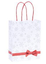 Pack of 5 Christmas Bags - Snowflake Design Twisted Handled Kraft Paper Xmas Shopping / Gift Bags - Available in 3 sizes