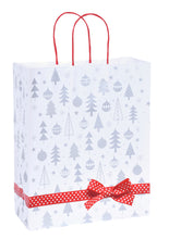 Pack of 5 Christmas Bags - Xmas Tree Design Twisted Handled Kraft Paper Xmas Shopping / Gift Bags - Available in 3 sizes