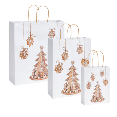 Pack of 5 Christmas Bags - Cookies Design Twisted Handle Paper Xmas Shopping / Gift Bags - 3 sizes available
