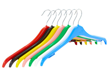 Pack of 10 Plastic Tops Hangers with Anti-Slip Rubber - 41cm - BORDERS HOMEWARES by Mainetti UK