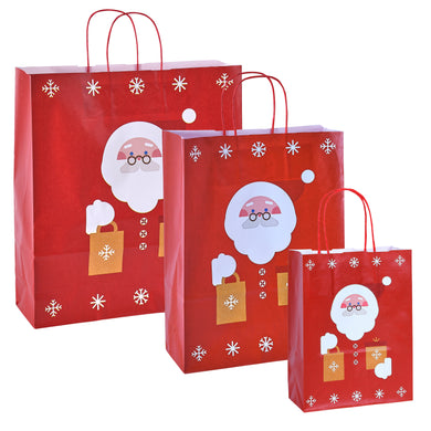 Pack of 10 Christmas Gift Bags - Red Santa Father Christmas Twisted Handle Kraft Paper Xmas Shopping / Gift Bags - Available in 3 sizes