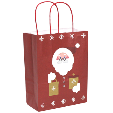 Pack of 10 Christmas Bags - Twisted Handle Kraft Paper Xmas Gift / Party Bags - 9 Size & Print options