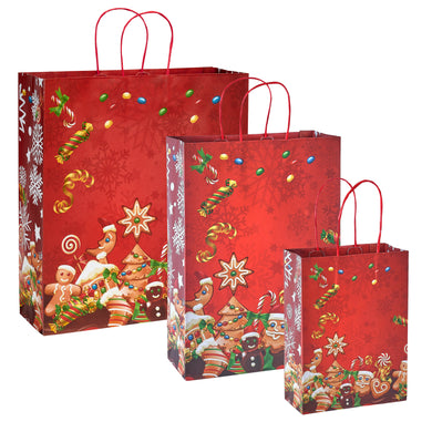 Pack of 5 Christmas Bags - Sweetie Design Twisted Handle Paper Xmas Shopping / Gift Bags - 3 sizes available