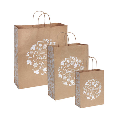 Pack of 10 Christmas Gift Bags - Snowflake Merry Christmas Twisted Handle Kraft Paper Xmas Shopping / Gift Bags - Available in 3 sizes