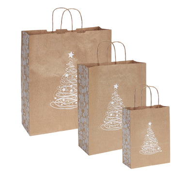 Pack of 10 Christmas Gift Bags - Snowflake Christmas Tree Twisted Handle Kraft Paper Xmas Shopping / Gift Bags - Available in 3 sizes