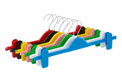 Pack of 10 Plastic Clip Hangers - 36cm - BORDERS HOMEWARES by Mainetti UK