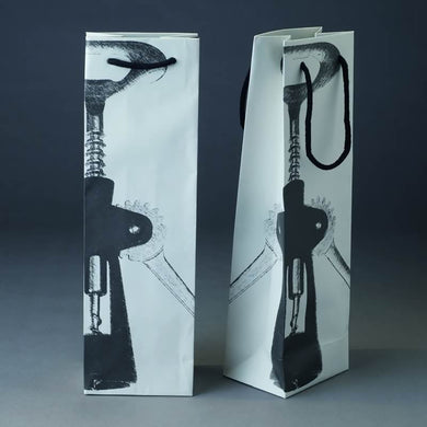 Pack of 5 Designer Premium Handmade Wine Bags with Black Cotton Cord Handles - BORDERS HOMEWARES by Mainetti UK