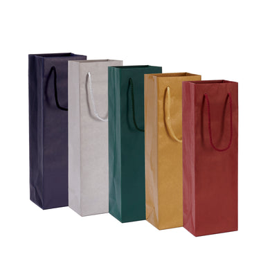 Pack of 5 Handmade Wine Bags with Matching Cord Handles - BORDERS HOMEWARES by Mainetti UK