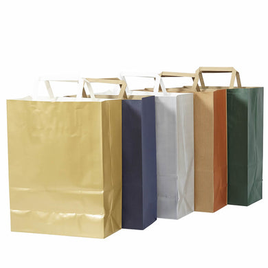 Pack of 10 Flat Handle Kraft Paper Bags - BORDERS HOMEWARES by Mainetti UK