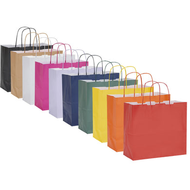 Pack of 10 Twisted Handle Kraft Paper Bags 26x11x24cm - 10 Colour Options - BORDERS HOMEWARES by Mainetti UK