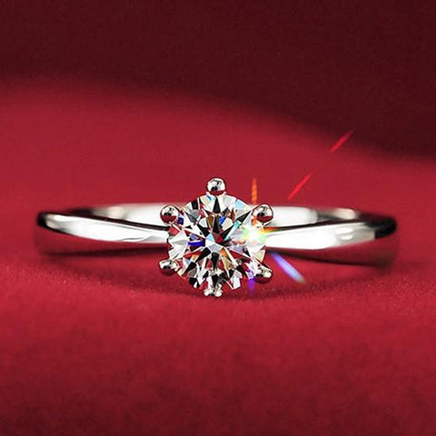 Best Quality Women Clear Zircon Inlaid Wedding Bridal Engagement Party Jewelry Ring-Free shipping