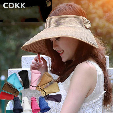COKK Brand 2017 New Spring Summer Visors Cap Foldable Wide Large Brim Sun Hat Beach-Free shipping