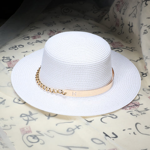 Summer Flat sun hats for women Metal chain decoration -Free shipping