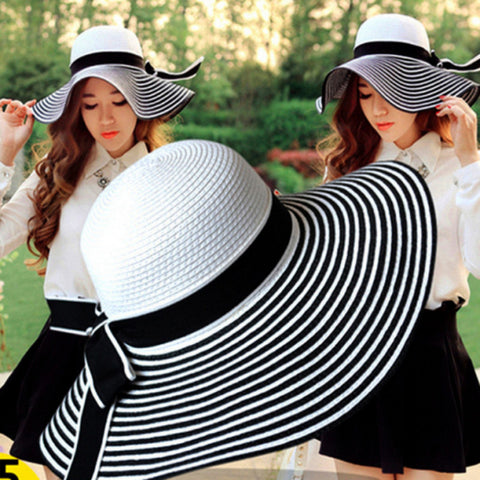 New 2017 Fashion Packable Sun Paper Straw Hat for Women Summer Beach Cap-Free shipping