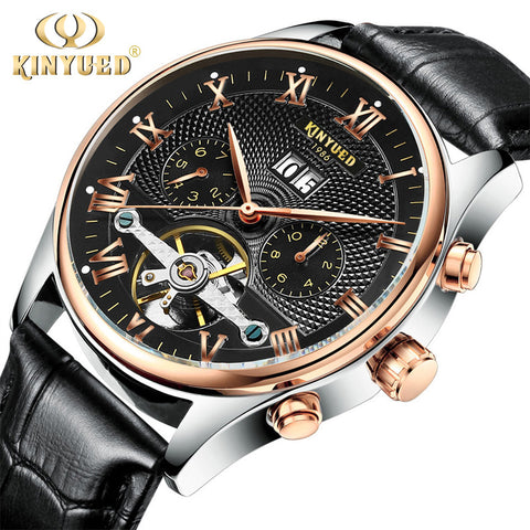 Kinyued Skeleton Watch Men Automatic Waterproof Top Brand Mens Mechanical Watches-Free shipping