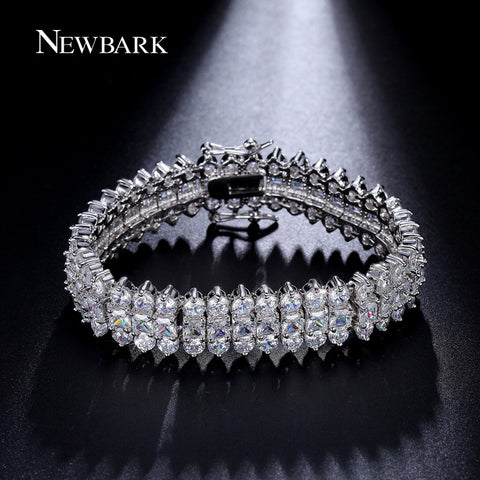 NEWBARK Luxurious Bracelet Silver Color 3 Rows Cubic Zirconia Bracelets For Women 17 / 19cm Charm Jewelry Pulseira-free shipping