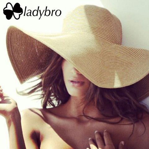 Ladybro Brand Wide Brim Floppy Straw Sun Hat Beach Women-Free shipping