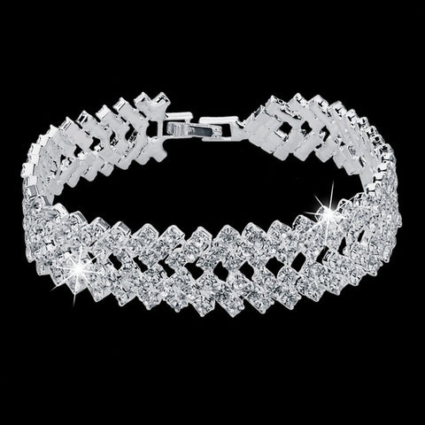 Luxury Crystal Bracelets For Women Silver color Bracelets & Bangles Femme Bridal Wedding Jewelry 2016 Vintage Bracelet -free shipping