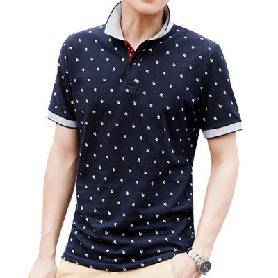 Polo Shirt Men Summer 100% Cotton Printed POLO Shirts -Free shipping