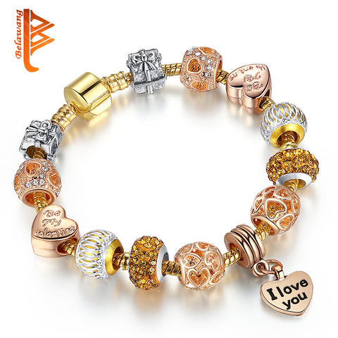 Luxury New Gold-color Charm Bracelets For Women Crystal Fashion Jewelry-free shipping