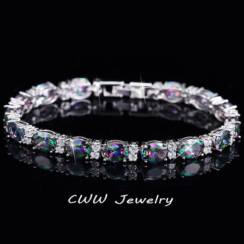 Luxury Design Multicolor Oval Rainbow Mystic Crystal Women Fancy Bracelet -free shipping