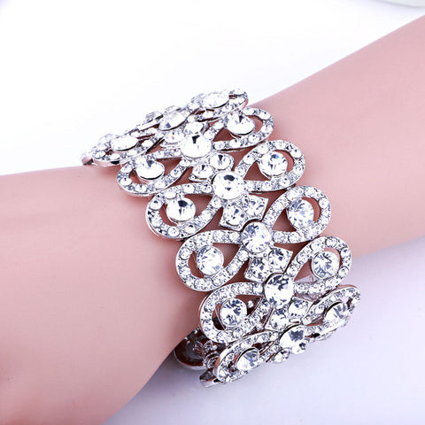 Wedding Jewelry Luxury Full Crystal Rhinestones Gold Color Bracelets for Women -free shipping