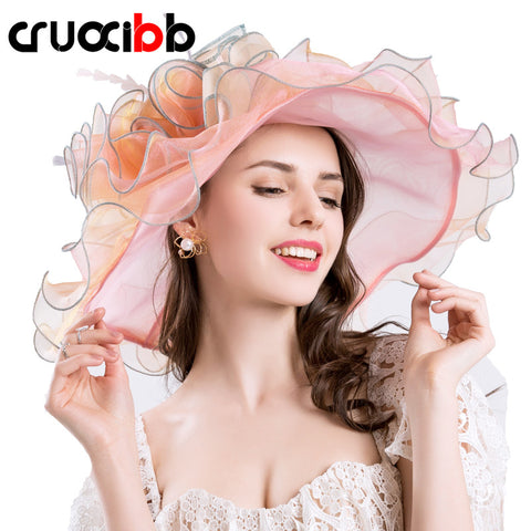 CRUOXIBB 2017 Summer Large Brim Sun Hats Women Big Flower-Free shipping