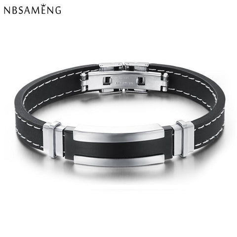 Hot Sale 2017 New Fashion Trendy Male Mens Bracelet Wristband Cuff Bangle Stainless Steel Black Rubber Belt- free shipping