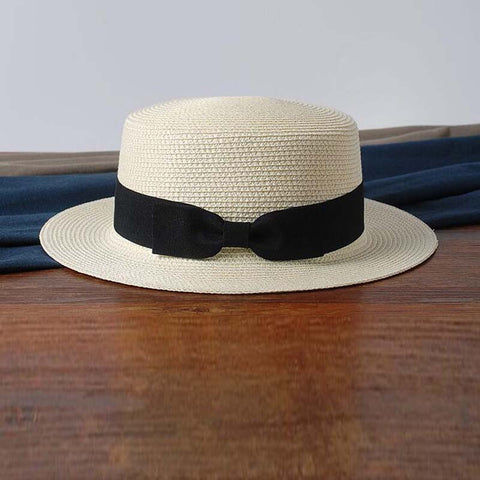 Lady sun caps summer straw hat boater hat Women's bow-Free shipping