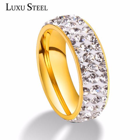 New Arrival Cool Wedding Accessory Gold Color Rings with Clear Shine Simulated for Women-Free shipping