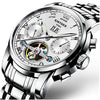 KINYUED Brand Automatic Watch Men Stainless Steel Self Wind Moon Calendar-Free shipping