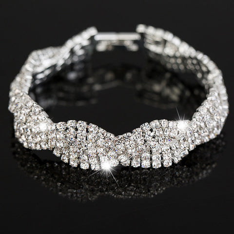 Luxury Wedding Austrian Crystal Bracelets For Women Charm Silver Plated Friendship Chain Bracelets Bangles Fashion Jewelry-free shipping