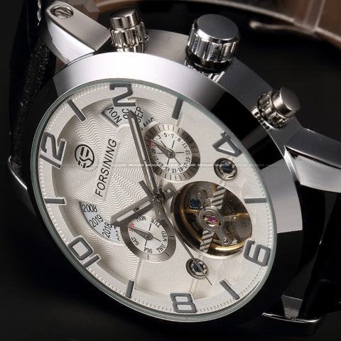 Automatic Stainless Silver Steel Case Black Leather Strap White Casual Mechanical Watch For Men-Free shipping