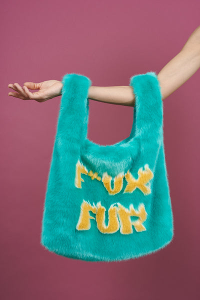 Large Flaming F*ux Fur Tote Turquoise