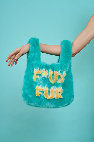 Mini Flaming F*ux Fur Tote Turquoise