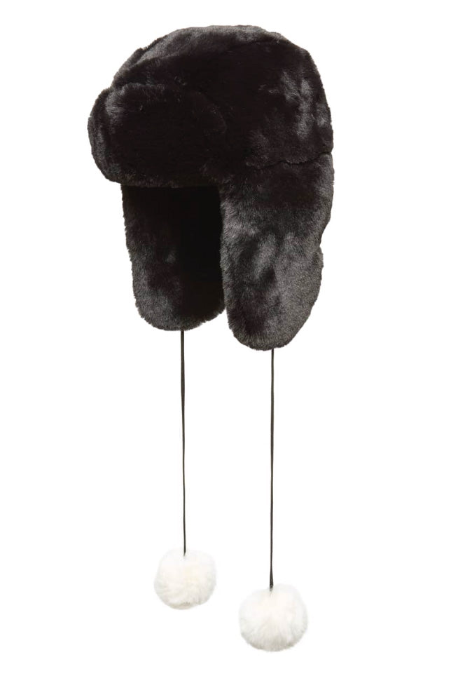 Trapper Hat with Poms Black