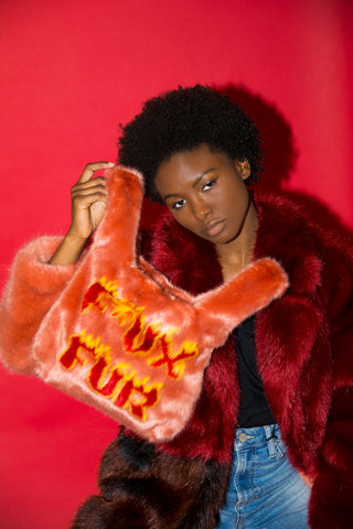 Mini Flaming F*ux Fur Tote Coral