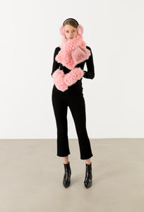 Hybrid Earmuff and Pull Thru Scarf Set Bubble Gum